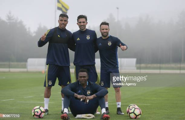 Mathieu Valbuena Nabil Dirar and Carlos Kameni of Fenerbahce pose for a photo during the club's training session ahead of Turkish Super Toto Super...