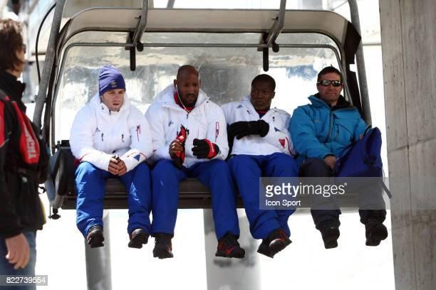 Mathieu VALBUENA / Nicolas ANELKA / Djibril CISSE Retour du Glacier Stage de l'Equipe de France avant la Coupe du Monde 2010 Tignes France