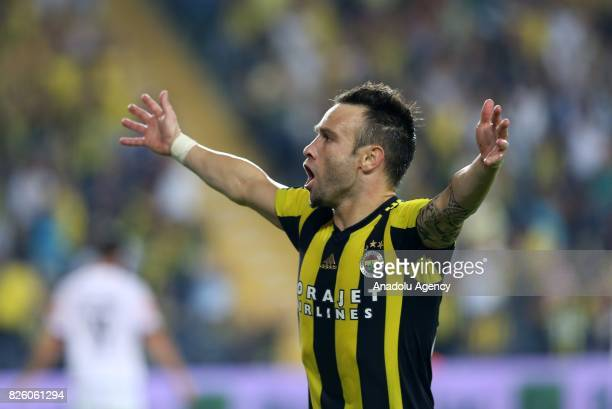 Mathieu Valbuena of Fenerbahce celebrates after scoring a goal during the UEFA Europa League third qualifying round 2nd leg match between Fenerbahce...