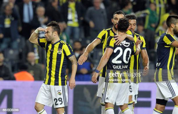 Mathieu Valbuena of Fenerbahce celebrates with his teammates after scoring during Turkish Super Lig match between Fenerbahce and Kasimpasa at Ulker...