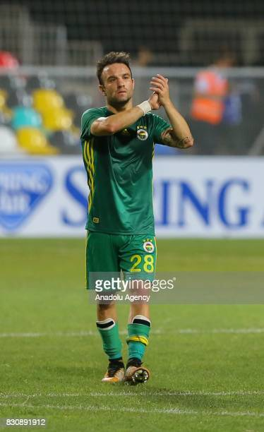 Mathieu Valbuena of Fenerbahce greets fans after the Turkish Spor Toto Super Lig soccer match between Goztepe and Fenerbahce at the Bornova Stadium...
