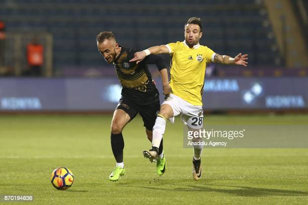 Mathieu Valbuena of Fenerbahce in action against Avdija Vrsajevic during Turkish Super Lig soccer match between Osmanlispor and Fenerbahce at the...