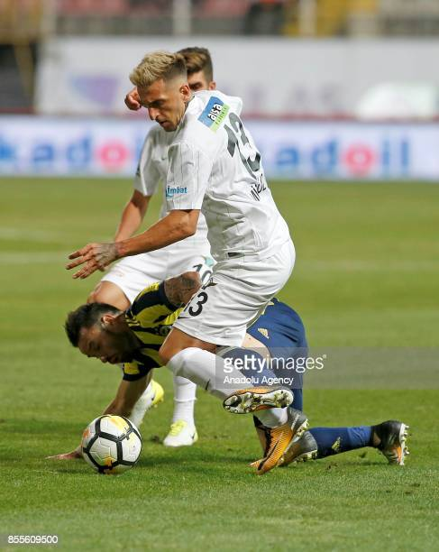Mathieu Valbuena of Fenerbahce in action against Hugo Miguel De Almeida Costa Lopes of Teleset Mobilya Akhisarspor during the Turkish Super Lig...