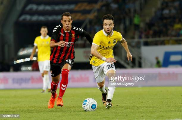 Mathieu Valbuena of Fenerbahce in action against Juan Felipe Alves Ribeiro of Vardar during the UEFA Europa League playoff match between Vardar and...