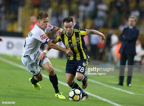 Mathieu Valbuena of Fenerbahce in action against Stefan Hierlander of Sturm Graz during the UEFA Europa League third qualifying round 2nd leg match...
