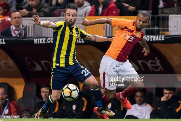 Mathieu Valbuena of Fenerbahce SK Mariano Ferreira Filho of Galatasaray SK during the Turkish Spor Toto Super Lig football match between Galatasaray...