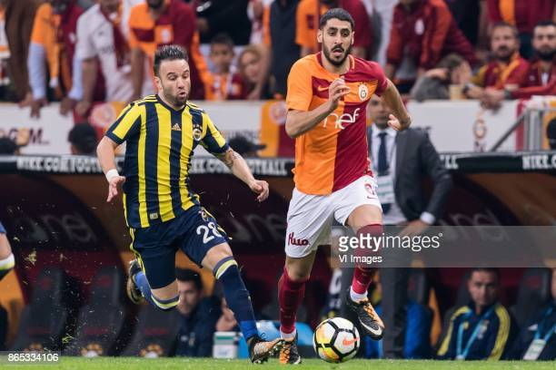Mathieu Valbuena of Fenerbahce SK Tolga Cigerci of Galatasaray SK during the Turkish Spor Toto Super Lig football match between Galatasaray SK and...