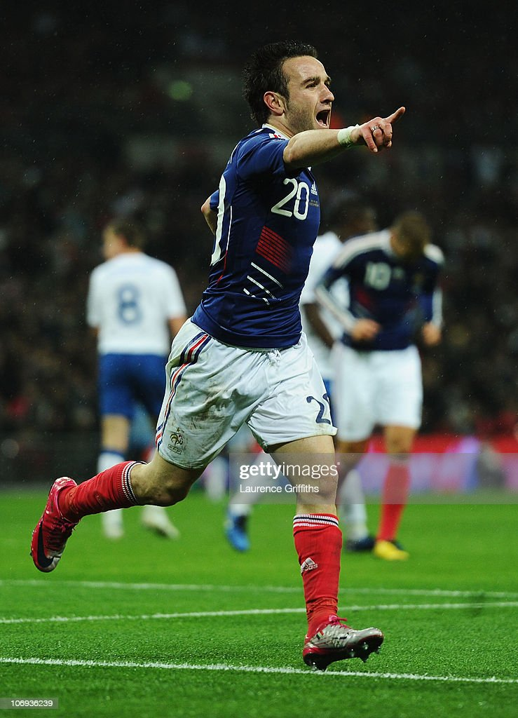 Mathieu Valbuena of France celebrates as he scores their second goal during the international friendly match between England and France at Wembley Stadium on November 17, 2010 in London, England.