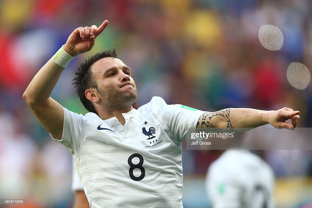 <a gi-track='captionPersonalityLinkClicked' href=/galleries/search?phrase=Mathieu+Valbuena&family=editorial&specificpeople=778610 ng-click='$event.stopPropagation()'>Mathieu Valbuena</a> of France celebrates his team's secong goal on an own goal by Joseph Yobo of Nigeria (not pictured) during the 2014 FIFA World Cup Brazil Round of 16 match between France and Nigeria at Estadio Nacional on June 30, 2014 in Brasilia, Brazil.