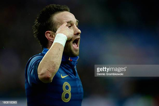 Mathieu Valbuena of France celebrates scoring first goal during the international friendly match between France and Germany at Stade de France on...
