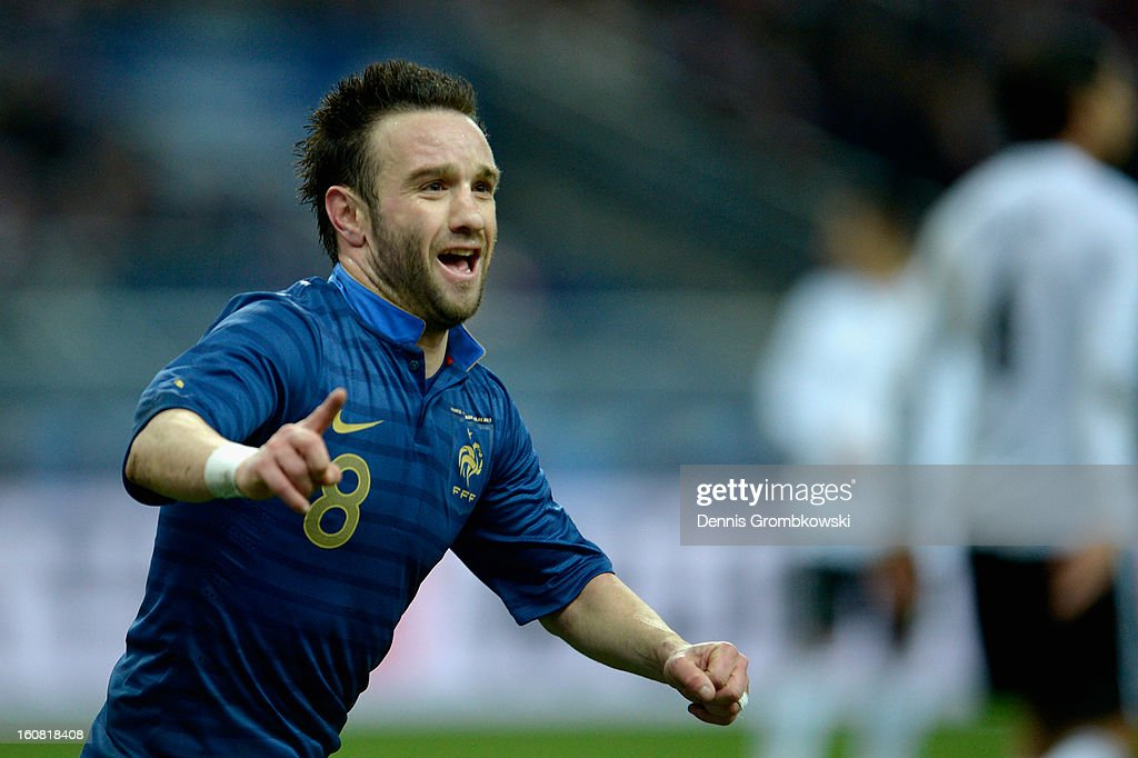 <a gi-track='captionPersonalityLinkClicked' href=/galleries/search?phrase=Mathieu+Valbuena&family=editorial&specificpeople=778610 ng-click='$event.stopPropagation()'>Mathieu Valbuena</a> of France celebrates scoring first goal during the international friendly match between France and Germany at Stade de France on February 6, 2013 in Paris, France.