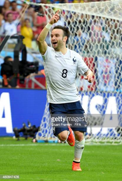 Mathieu Valbuena of France celebrates scoring his team's third goal during the 2014 FIFA World Cup Brazil Group E match between Switzerland and...