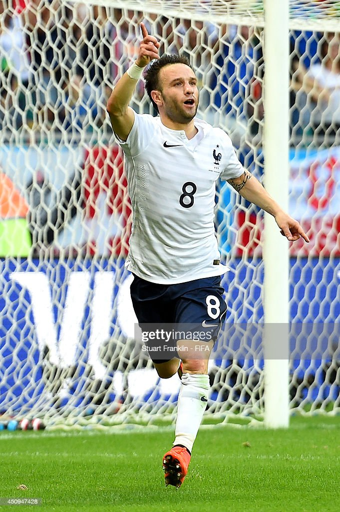 <a gi-track='captionPersonalityLinkClicked' href=/galleries/search?phrase=Mathieu+Valbuena&family=editorial&specificpeople=778610 ng-click='$event.stopPropagation()'>Mathieu Valbuena</a> of France celebrates scoring his team's third goal during the 2014 FIFA World Cup Brazil Group E match between Switzerland and France at Arena Fonte Nova on June 20, 2014 in Salvador, Brazil.