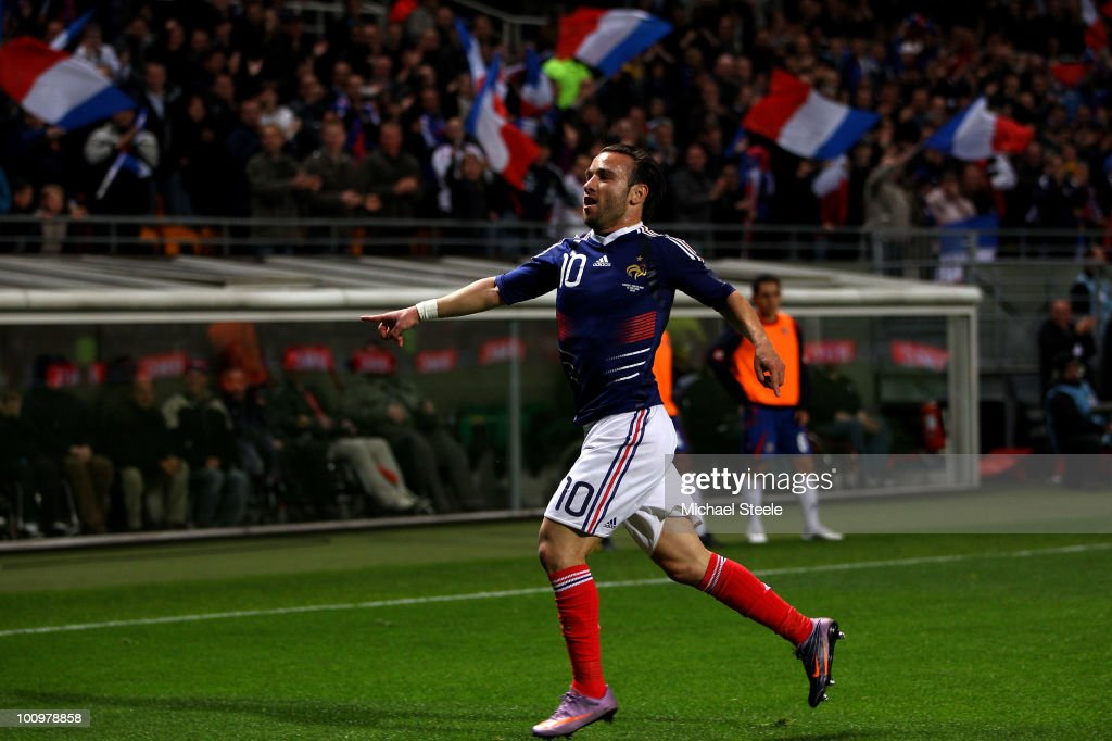 <a gi-track='captionPersonalityLinkClicked' href=/galleries/search?phrase=Mathieu+Valbuena&family=editorial&specificpeople=778610 ng-click='$event.stopPropagation()'>Mathieu Valbuena</a> of France celebrates scoring the winning goal during the France v Costa Rica International Friendly match at Stade Felix Bollaert on May 26, 2010 in Lens, France.