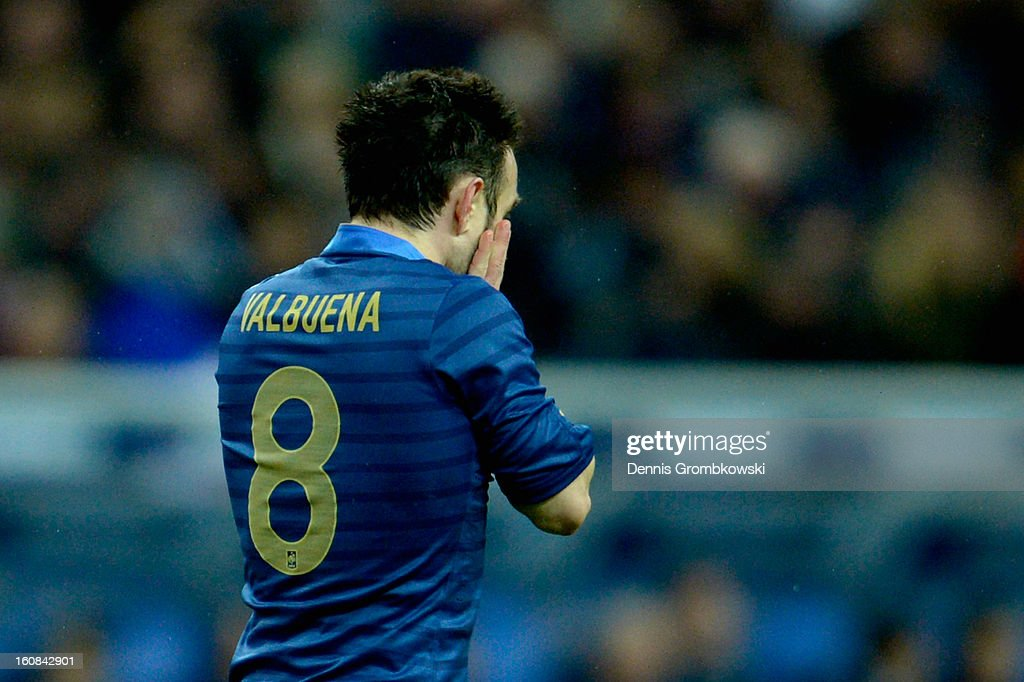 <a gi-track='captionPersonalityLinkClicked' href=/galleries/search?phrase=Mathieu+Valbuena&family=editorial&specificpeople=778610 ng-click='$event.stopPropagation()'>Mathieu Valbuena</a> of France reacts during the international friendly match between France and Germany at Stade de France on February 6, 2013 in Paris, France.