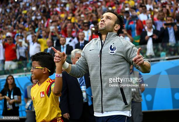Mathieu Valbuena of France walks on to the pitch prior to the 2014 FIFA World Cup Brazil Group E match between Switzerland and France at Arena Fonte...