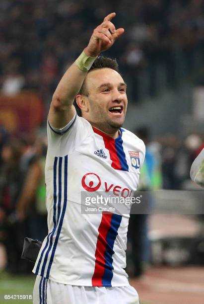 Mathieu Valbuena of Lyon celebrates the qualification following the UEFA Europa League Round of 16 second leg match between AS Roma and Olympique...