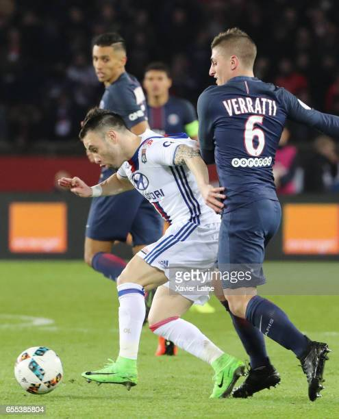 Mathieu Valbuena of Lyon in action with Marco Verratti of Paris SaintGermain during the French Ligue 1 match between Paris Saint Germain and Lyon OL...