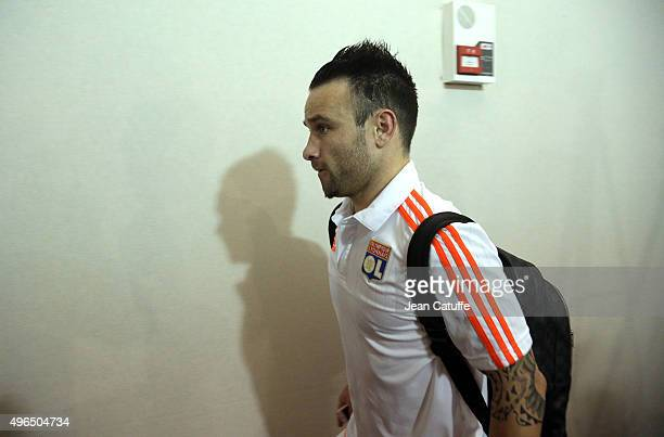 Mathieu Valbuena of Lyon leaves the stadium following the French Ligue 1 match between Olympique Lyonnais and AS SaintEtienne at Stade de Gerland on...