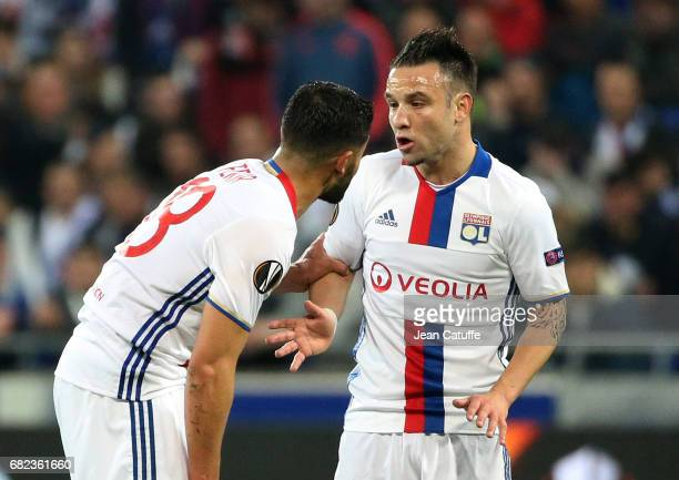 Mathieu Valbuena of Lyon talks to Nabil Fekir during the UEFA Europa League semi final second leg match between Olympique Lyonnais and Ajax Amsterdam...