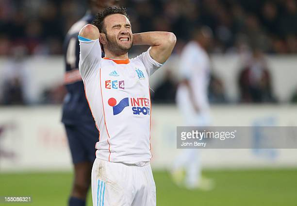 Mathieu Valbuena of Olympique de Marseille reacts after missing a goal during the french eightfinals League Cup match between Paris Saint Germain PSG...