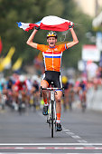 Mathieu van der Poel of the Netherlands celebrates crossing the finish line and winning the Junior Men's Road Race on September 28 2013 in Florence...