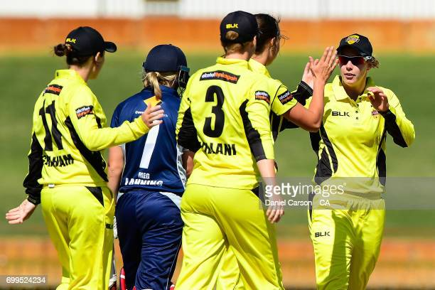 Mathilda Carmichael of the WA Fury celebrates effecting a runout during the WNCL match between Western Australia and Victoria at WACA on October 16...