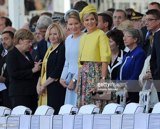 Mathilde de Belgique and Queen Maxima of The Netherlands attend at a Ceremony to Commemorate DDay 70 on Sword Beach on June 6 2014 in Ouistreham...