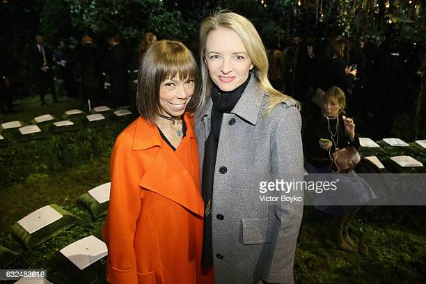 Mathilde Favier and Delphine Arnault attend the Christian Dior Haute Couture Spring Summer 2017 show as part of Paris Fashion Week at Musee Rodin on...