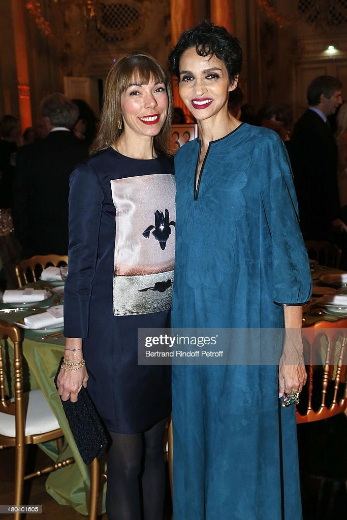 Mathilde Meyer (L) and <a gi-track='captionPersonalityLinkClicked' href=/galleries/search?phrase=Farida+Khelfa&family=editorial&specificpeople=4866090 ng-click='$event.stopPropagation()'>Farida Khelfa</a> attend the dinner party of the Societe Des Amis Du Musee D'Orsay (The Friends of Orsay Museum Society) at Musee d'Orsay on March 24, 2014 in Paris, France.