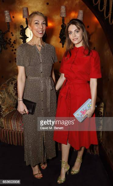 Mathilde Favier and guest attend a cocktail party celebrating the launch of Vanessa Seward's first London store at Loulou's on March 15 2017 in...