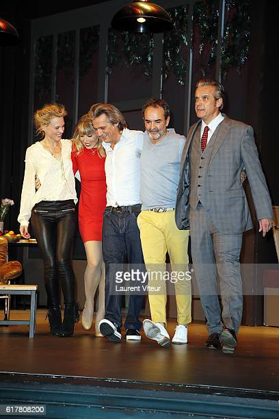 Mathilde Penin Melanie Page Yvan Le Bolloc'h Bruno Solo andDavid Brecourt play 'L'Heureux Elu' theater play premiere at Theatre de La Madeleine on...