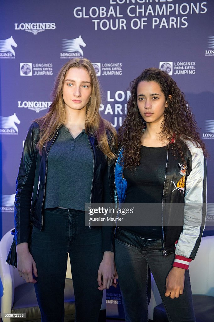 Mathilde Pinault (L) attends the 3rd Longines Paris Eiffel Jumping press conference on May 24, 2016 in Paris, France.