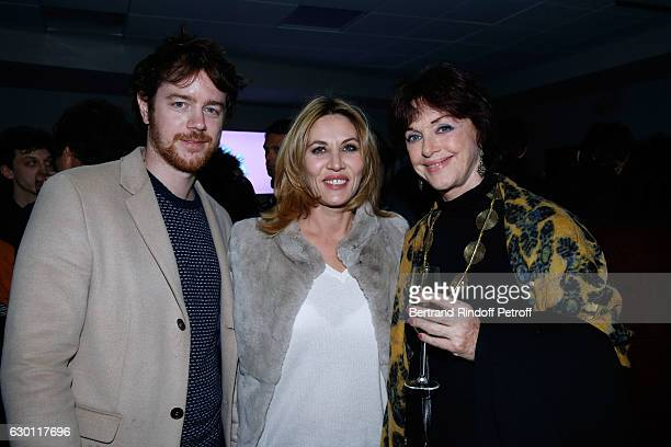 Mathilde Seigner standing between Gael Giraudeau and his mother Anny Duperey attend Michael Gregorio performs for his 10 years of Career at...
