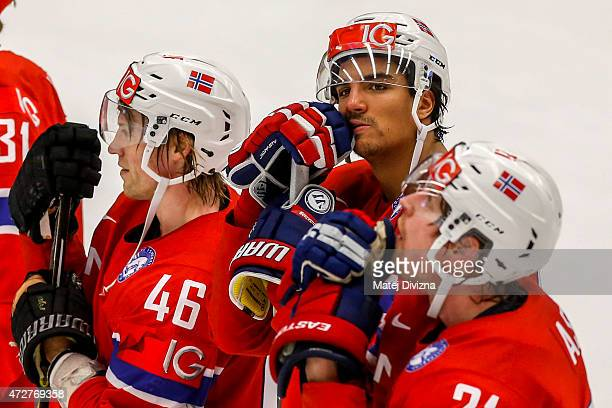 Mathis Olimb Andreas Martinsen and Morten Ask of Norway are defeat after the IIHF World Championship group B match between Denmark and Norway at CEZ...