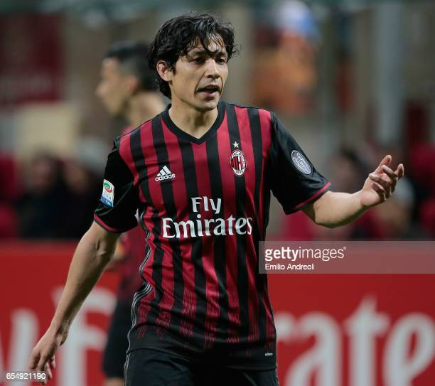 Mati Fernandez of AC Milan gestures during the Serie A match between AC Milan and Genoa CFC at Stadio Giuseppe Meazza on March 18 2017 in Milan Italy