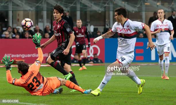 Mati Fernandez of AC Milan scores the opening goal during the Serie A match between AC Milan and Genoa CFC at Stadio Giuseppe Meazza on March 18 2017...