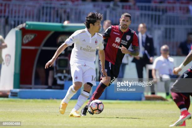 Mati Fernandez of Milan in action during the Serie A match between Cagliari Calcio and AC Milan at Stadio Sant'Elia on May 28 2017 in Cagliari Italy