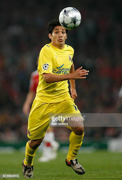 Mati Fernandez of Villarreal during the UEFA Champions League Quarter Final 2nd Leg match between Arsenal and Villarreal at the Emirates Stadium in...
