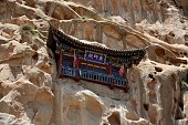 The Mati Temple, also known as the Horse's Hoof Temple, up a cliff. It's a popular tourist destination located around 65 km from Zhangye, Gansu province.