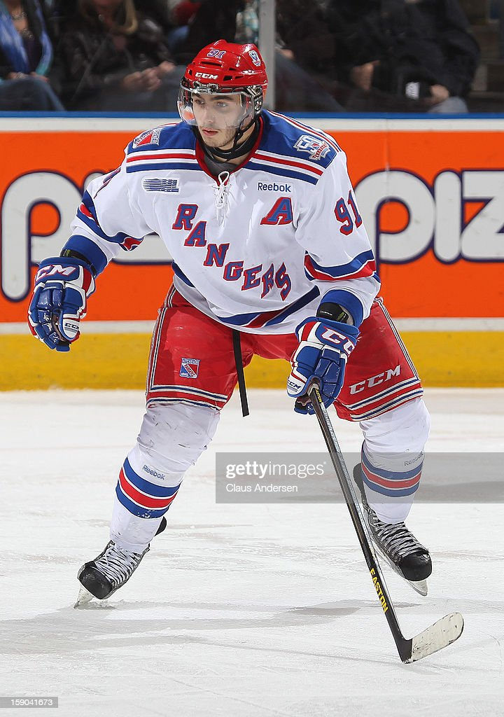Matia Marcantuoni #91 of the Kitchener Rangers skates in an OHL game against the London Knights on January 5, 2013 at the Budweiser Gardens in London, Canada. The Knights defeated the Rangers 3-2.