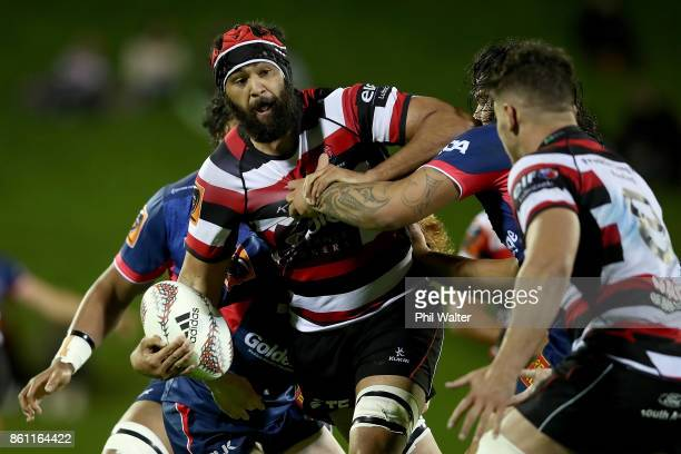 Matiaha Martin of Counties is tackled during the round nine Mitre 10 Cup match between Counties Manukau and Tasman at ECOLight Stadium on October 14...