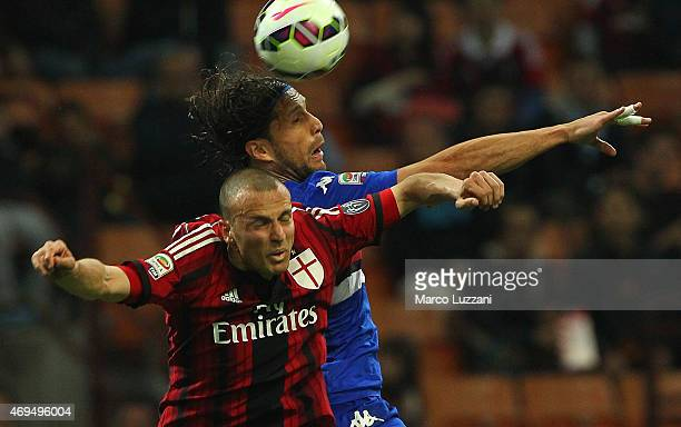 Matias Agustin Silvestre of UC Sampdoria competes for the ball with Luca Antonelli of AC Milan during the Serie A match between AC Milan and UC...