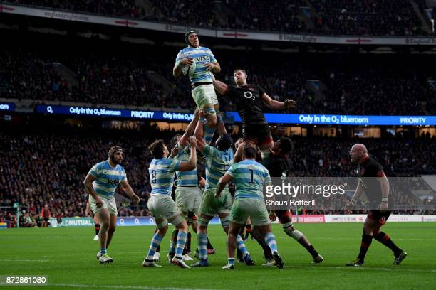 Matias Alemanno of Argentina wins a lineout ball during the Old Mutual Wealth Series match between England and Argentina at Twickenham Stadium on...