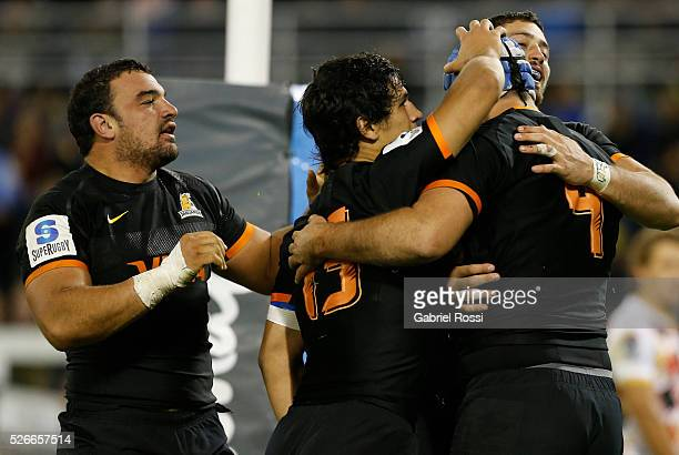 Matias Alemanno of Jaguares and teammates celebrate after scoring a try during a match between Jaguares and Kings as part of Super Rugby 2016 6 at...