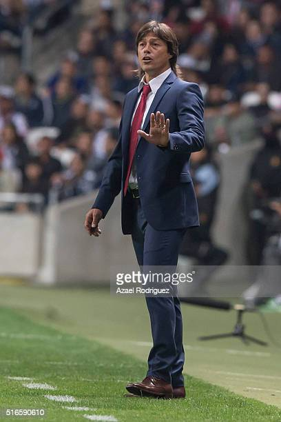 Matias Almeida coach of Chivas gives instructions during the 11th round match between Monterrey and Chivas as part of the Clausura 2016 Liga MX at...