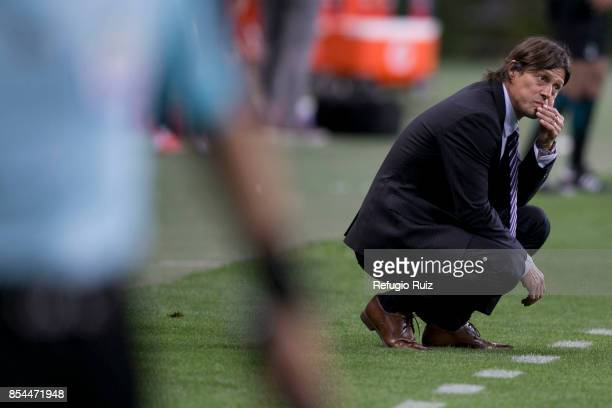 Matias Almeyda coach of Chivas gestures during the 11th round match between Chivas and Lobos BUAP as part of the Torneo Apertura 2017 Liga MX at...