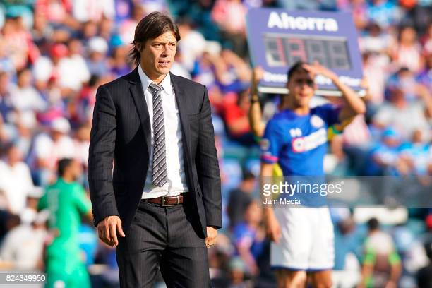 Matias Almeyda Coach of Chivas gestures during the 2nd round match between Cruz Azul and Chivas as part of the Torneo Apertura 2017 Liga MX at Azul...