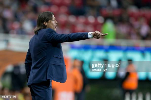 Matias Almeyda coach of Chivas gives instructions to his players during a friendly match between Chivas and Boca Juniors at Chivas Stadium on...