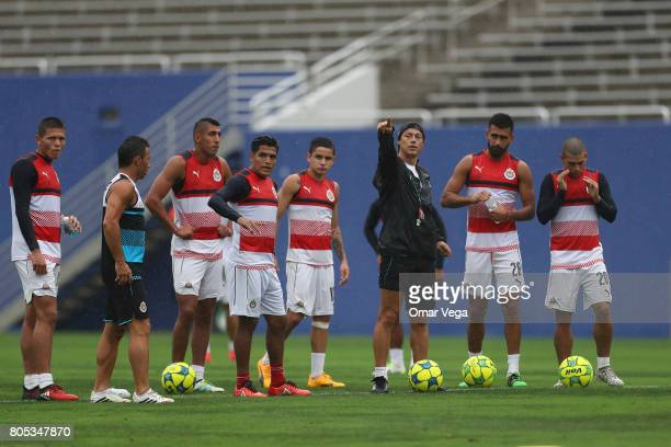 Matias Almeyda coach of Chivas gives instructions to his players in action during a training session prior to a friendly match between Chivas and...